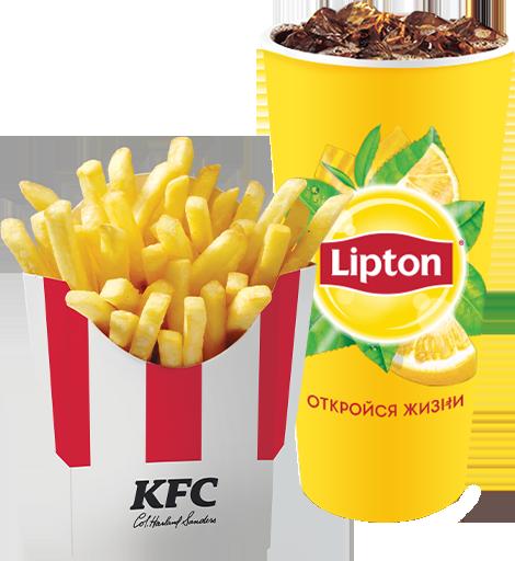 КФС купон на Липтон 0.4 разливной чёрный / зелёный + Картофель фри стандартный